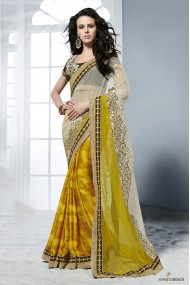 Crepe Jacquard and Net Designer Saree In Yellow and Beige Colour