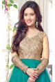 Bollywood Riya Sen Net Semi Stitched Salwar Kameez In Green Colour - 2
